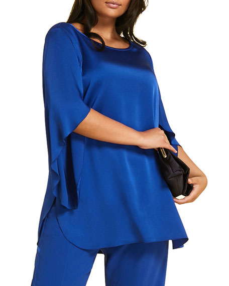 Marina Rinaldi Plus Size Famoso Scoop-Neck Tulip-Sleeve Tunic