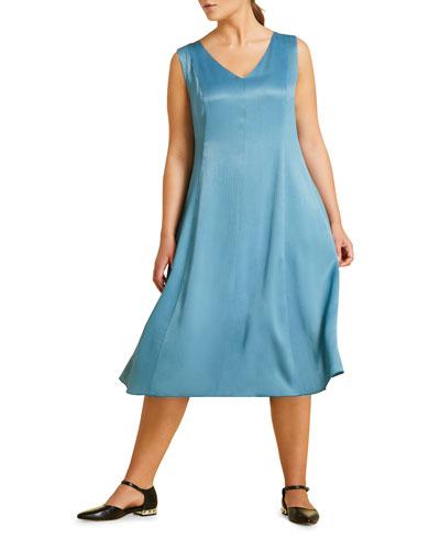 Plus Size Decagono V-Neck Sleeveless Midi Dress