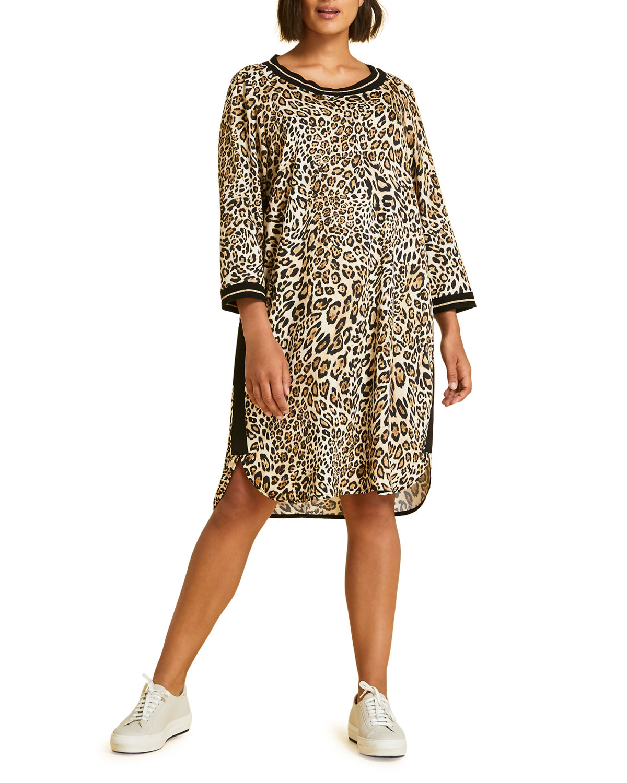 782bd5d3c1 Marina Rinaldi Plus Size Damasco Animal-Print 3 4-Sleeve Tunic Dress ...