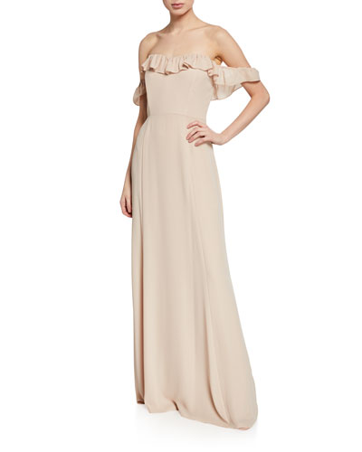 The Harlow Off-the-Shoulder Ruffle Gown
