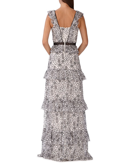 Image 2 of 2: ML Monique Lhuillier Floral-Print Tiered Maxi Dress
