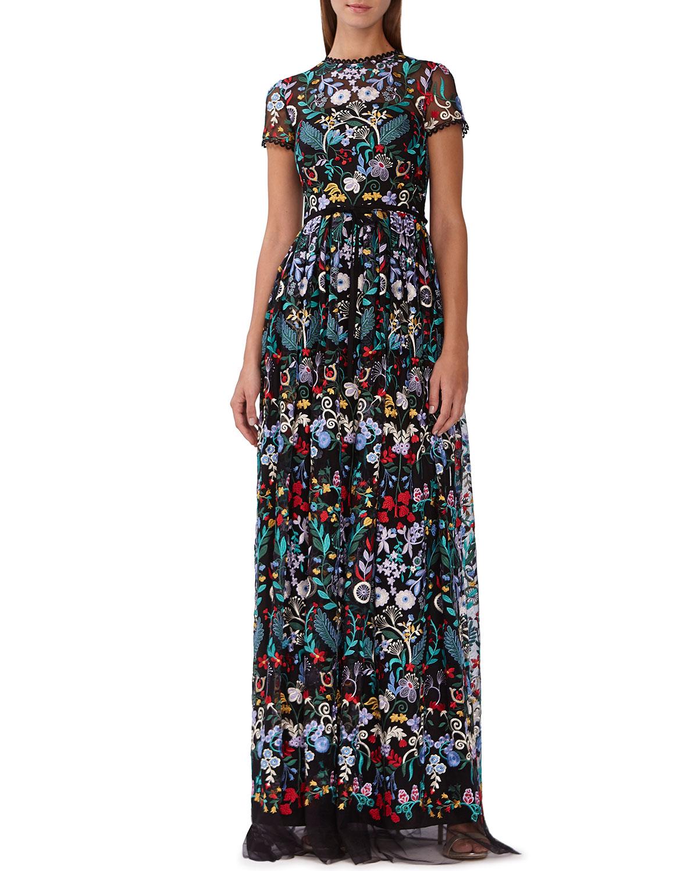 20cf3184ac2 ML Monique Lhuillier Floral-Embroidered Mesh Maxi Dress