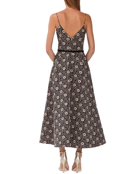 Image 2 of 2: ML Monique Lhuillier Floral Jacquard Midi Dress