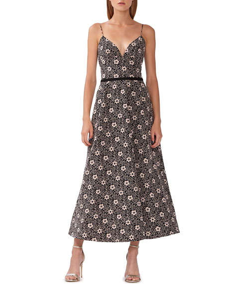Image 1 of 2: ML Monique Lhuillier Floral Jacquard Midi Dress