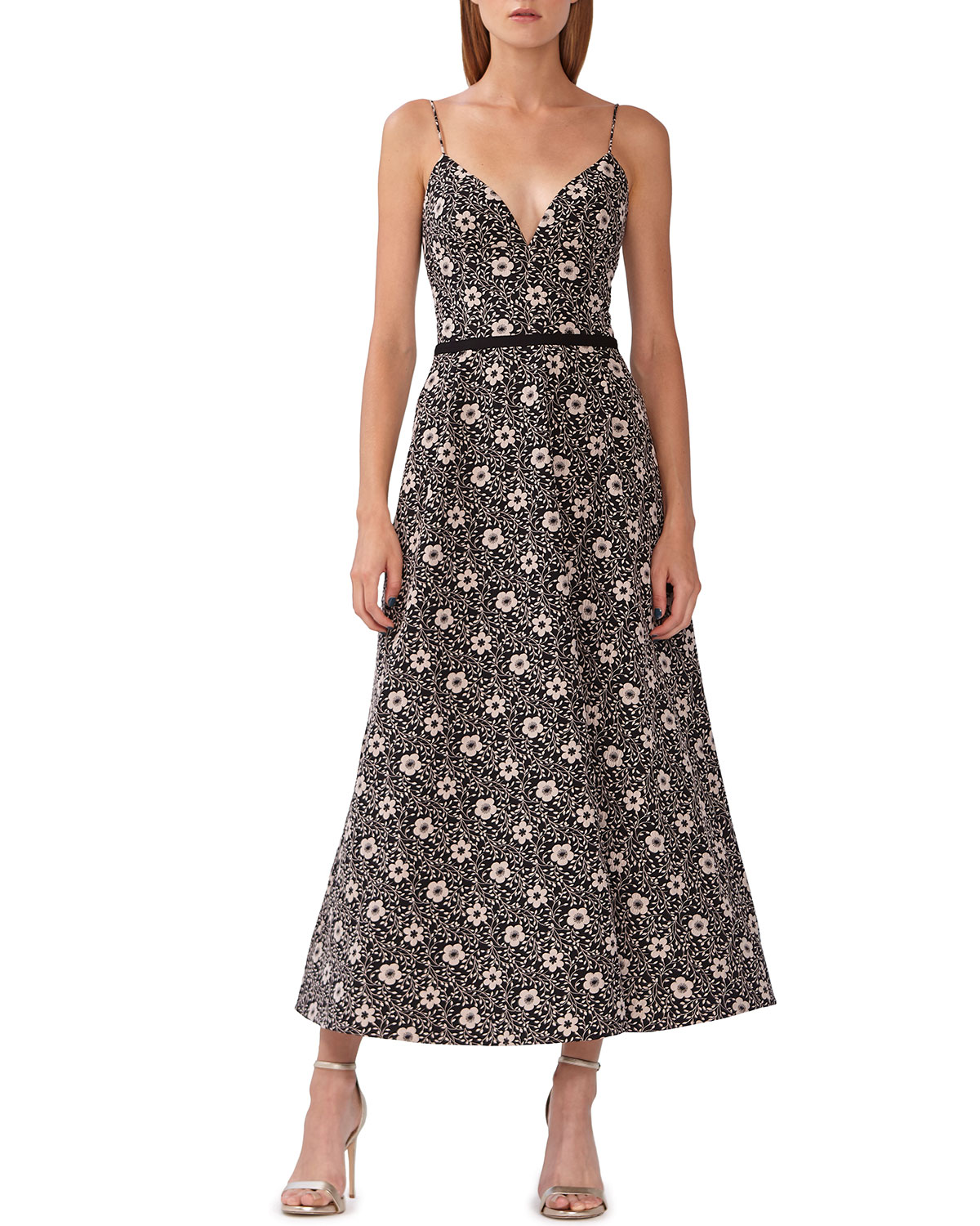 ML Monique Lhuillier Floral Jacquard Midi Dress