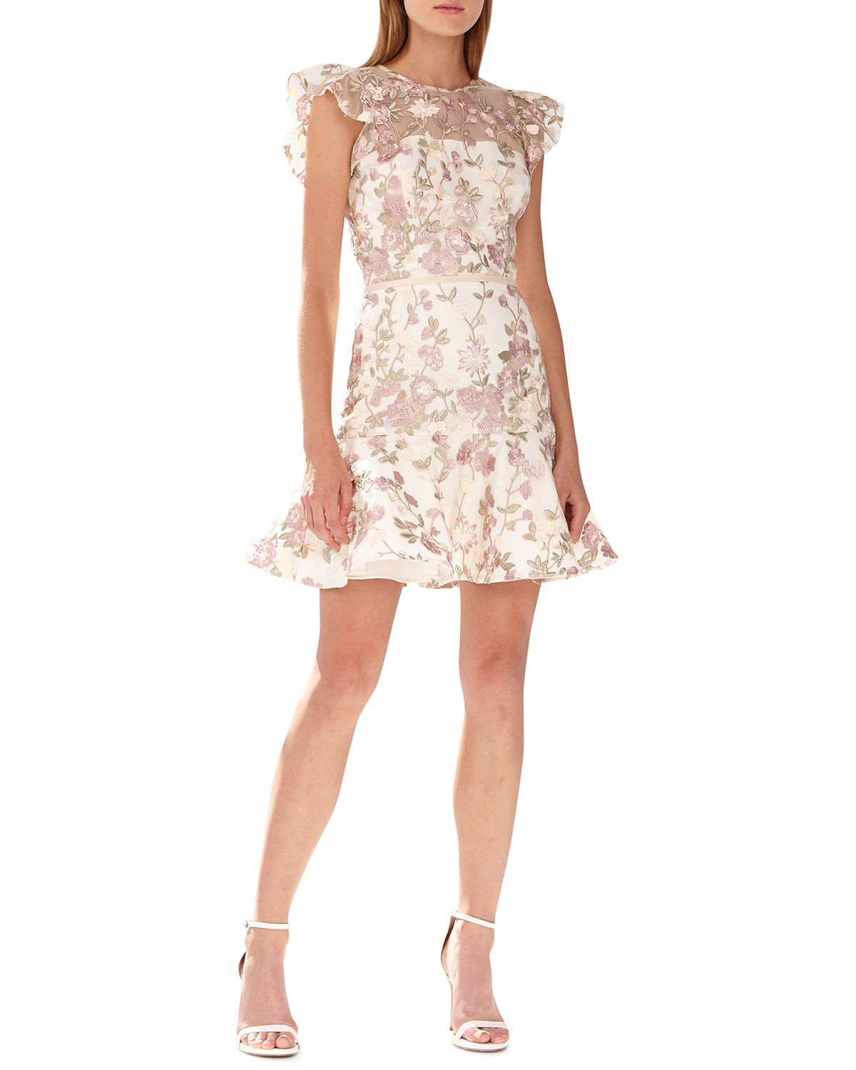 3aa83fd33 ML Monique Lhuillier Floral-Embroidered Mesh Illusion Cocktail Dress ...