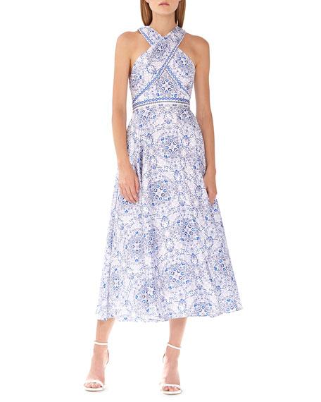 ML Monique Lhuillier Wrapped-Bodice Maxi Dress