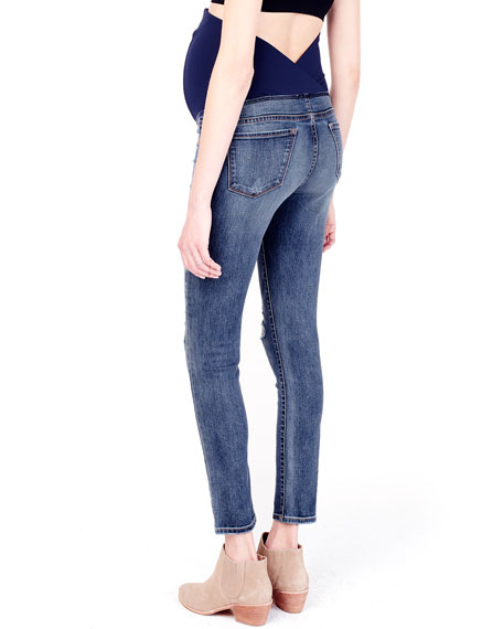 Ingrid & Isabel Maternity Sasha Distressed Denim Skinny-Leg Jeans w/ Crossover Panel
