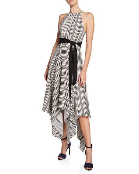 Halston Striped Halter Handkerchief Dress w/ Strappy Back