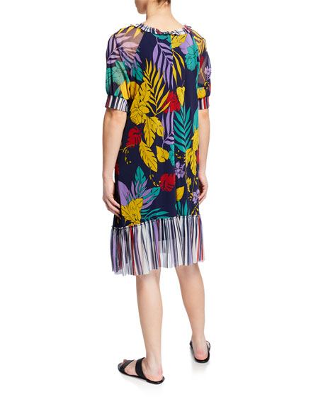 Fuzzi Patchwork Tulle Coverup Dress