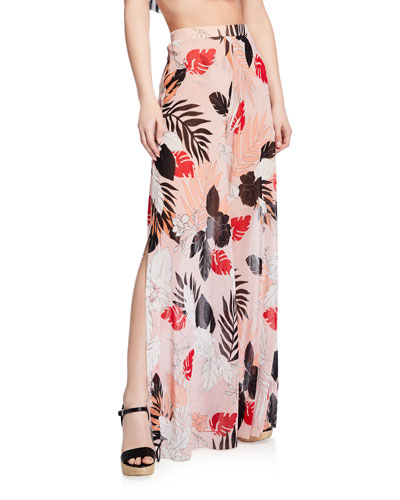 Slit Floral Wide-Leg Coverup Pants