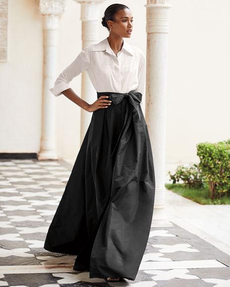 Rickie Freeman for Teri Jon Two-Tone 3/4-Sleeve Taffeta Shirtdress Gown