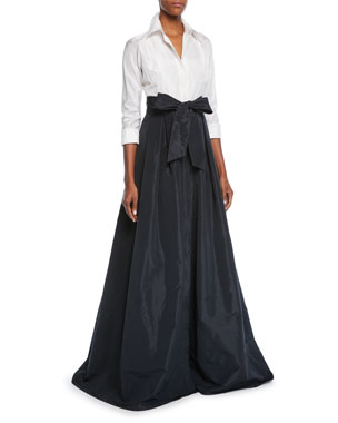 a03a78f95b9c Rickie Freeman for Teri Jon Two-Tone 3/4-Sleeve Taffeta Shirtdress Gown