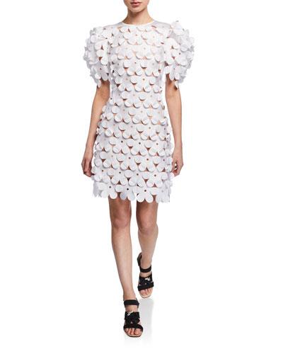 Laser-Cut Floral 3D Structured Dress