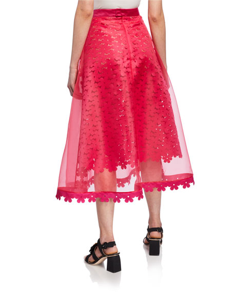 Paskal Double-Layered Laser-Cut Floral Midi Skirt