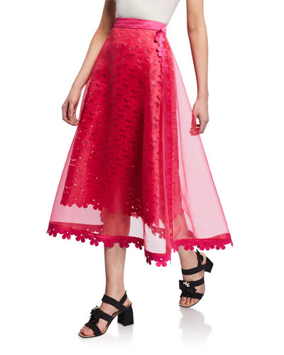 Double-Layered Laser-Cut Floral Midi Skirt
