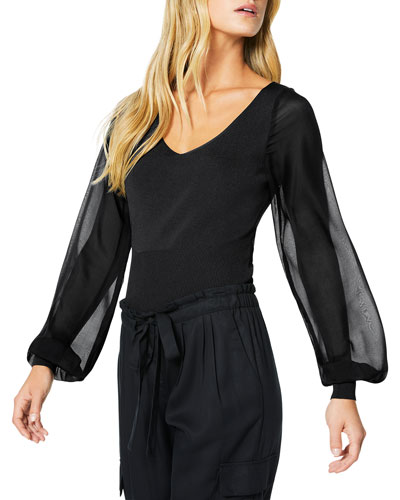 Aaron V-Neck Sheer Blouson-Sleeve Top