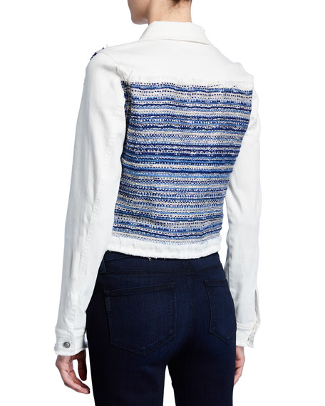 Ramy Brook Barry Button-Front Denim & Tweed Combo Jacket