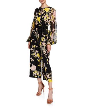 695a293afef Diane von Furstenberg Delphi Cropped Floral Blouson-Sleeve Jumpsuit