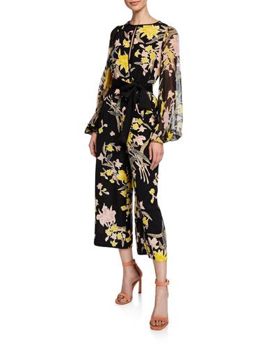 Delphi Cropped Floral Blouson-Sleeve Jumpsuit