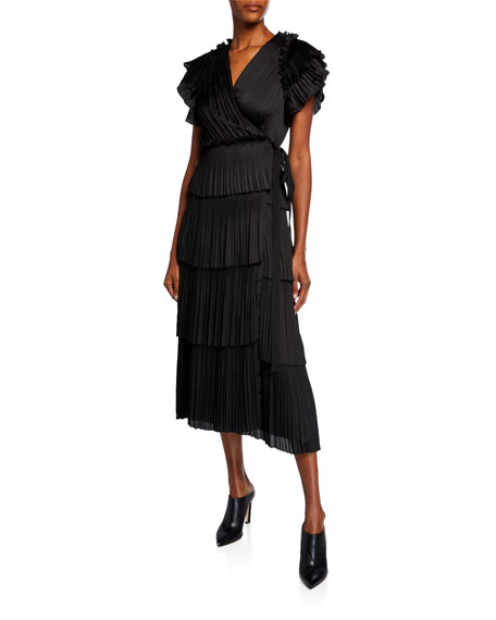 Diane von Furstenberg Sasha Pleated Ruffle Short-Sleeve Wrap Dress