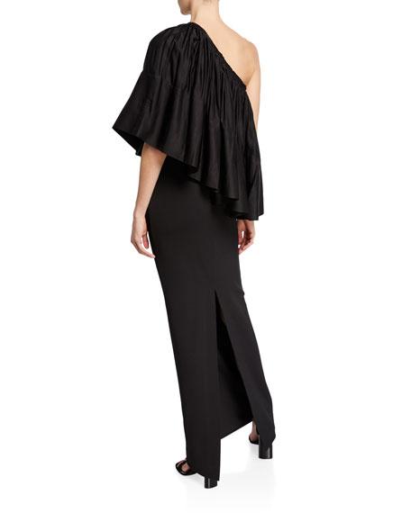 Solace London Lison Shirred One-Shoulder Cocktail Dress