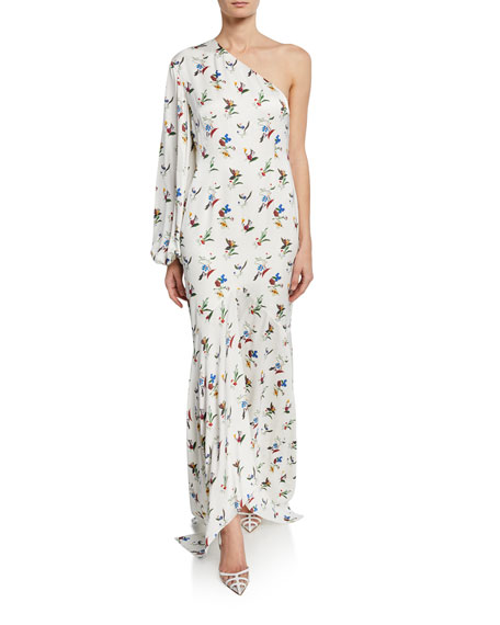 Solace London Savon Floral One-Shoulder Asymmetric Dress
