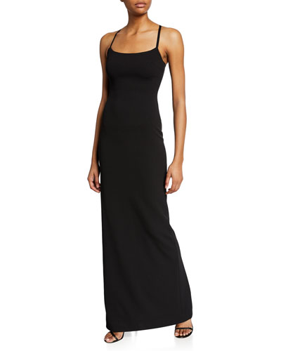 Saruo Square-Neck Long Cocktail Dress