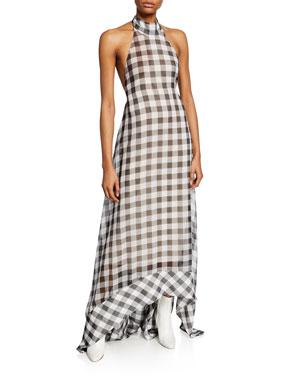 9d8a4553dda Solace London Bibele Gingham Halter Maxi Dress