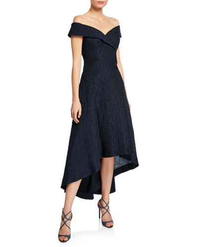 Taffeta Off-the-Shoulder High-Low Cocktail Dress