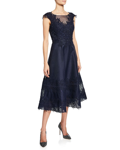 Rickie Freeman for Teri Jon Beaded-Trim Mesh Lace Cocktail Dress