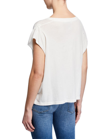 Current/Elliott The Ruched Muscle Drawstring Tee
