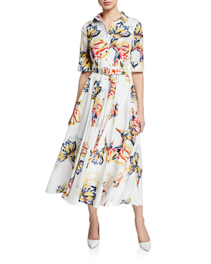 ef4c69af8e619 Badgley Mischka Collection Floral-Print Button-Down Elbow-Sleeve Belted  Shirtdress