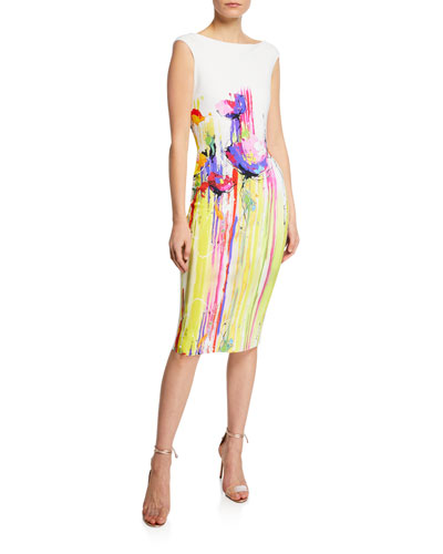Purity Print Boat-Neck Cap-Sleeve Sheath Dress