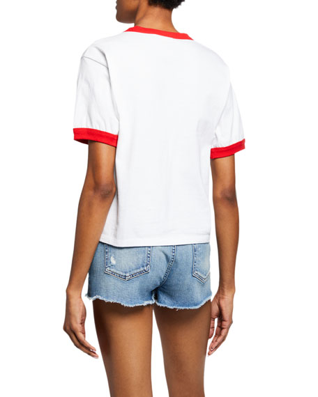 ALICE + OLIVIA JEANS Rylyn Rolling Stones Embellished Cropped Tee