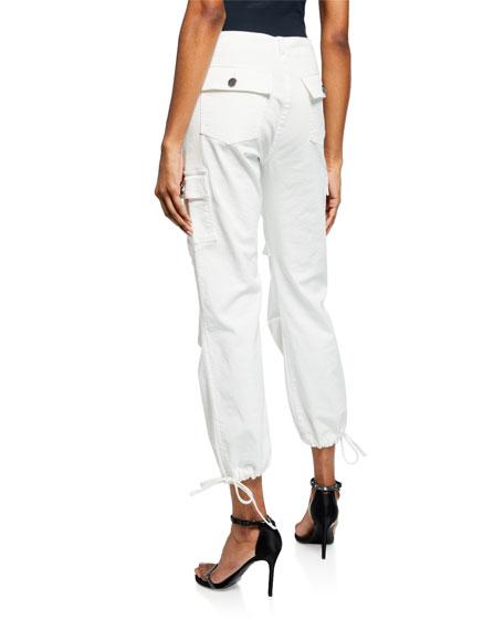 ALICE + OLIVIA JEANS Mid-Rise Cropped Cargo Pants w/ Drawstring Hem
