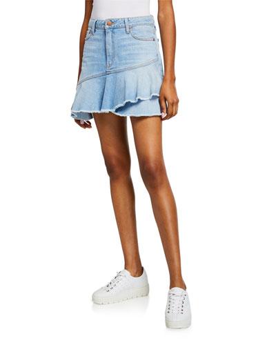 Mini Flounce Ruffle Denim Skirt