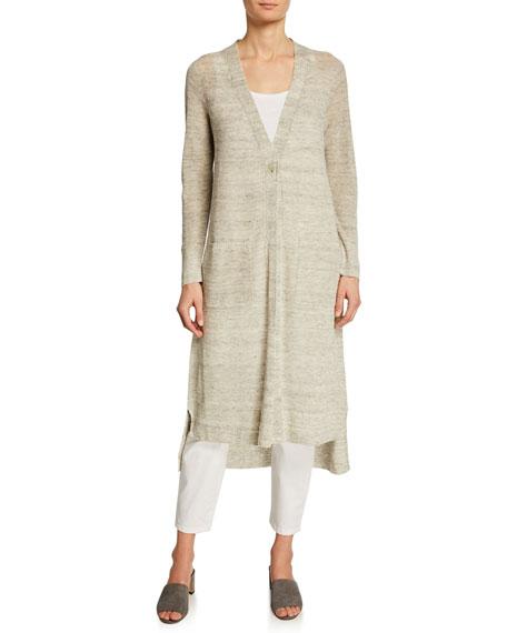 Eileen Fisher Organic Linen Maxi Cardigan