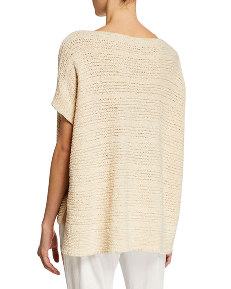 Eileen Fisher Tape-Knit Organic Cotton Sweater