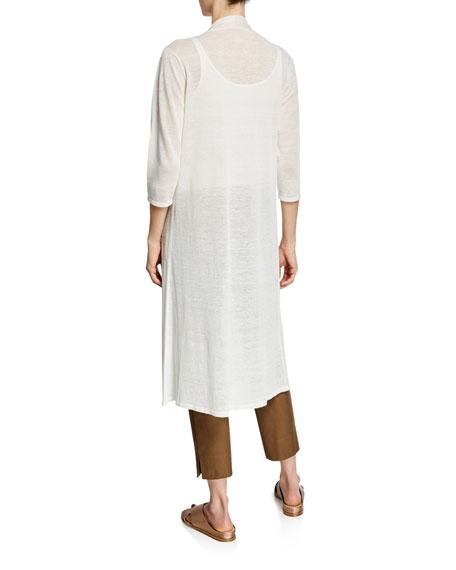 Eileen Fisher Plus Size Fine Crepe 3/4-Sleeve Linen Cardigan