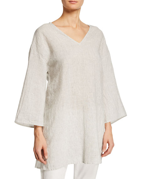 Eileen Fisher Petite Mini-Stripe Linen 3/4-Sleeve Tunic