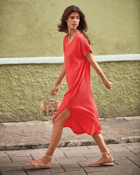 Eileen Fisher Plus Size V-Neck Short-Sleeve Lofty Organic Cotton Midi Dress