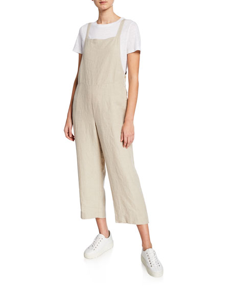 Eileen Fisher Petite Sleeveless Organic Linen Crop Jumpsuit