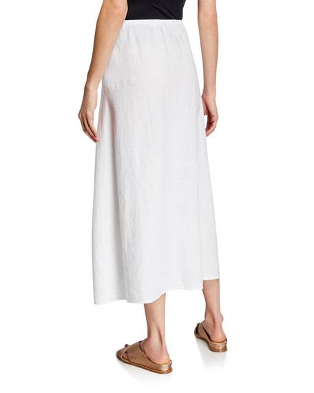 Eileen Fisher Petite Organic Linen A-Line Side-Slit Midi Skirt