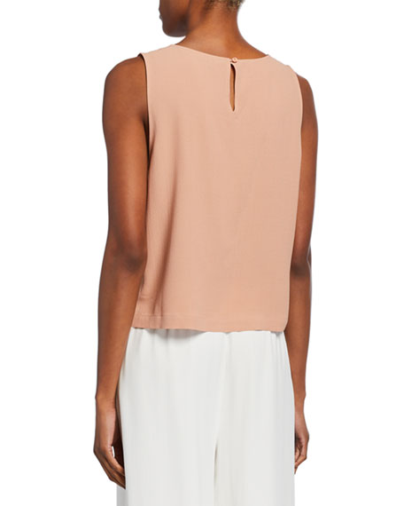 Eileen Fisher Silk Georgette Round-Neck Shell Top