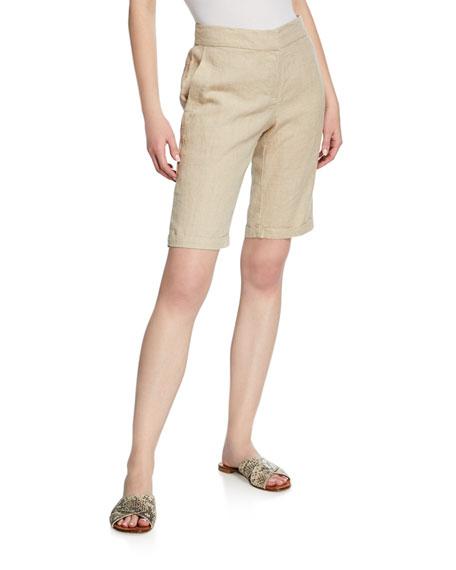 Eileen Fisher Plus Size Mid-Rise Organic Linen Bermuda Walking Shorts