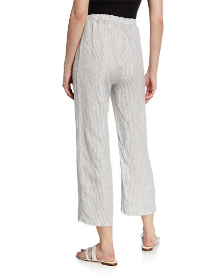 Eileen Fisher Mini-Stripe Drawstring Straight-Leg Organic Linen Crop Pants