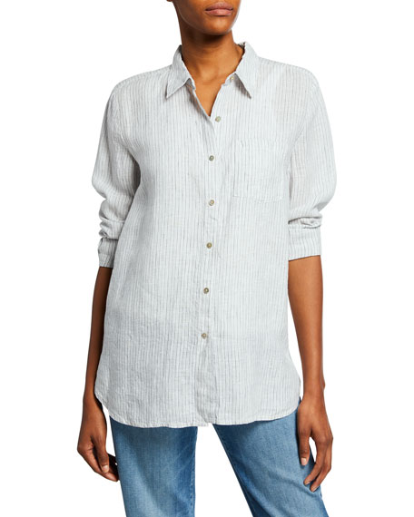Eileen Fisher Mini-Stripe Button-Front Long-Sleeve Handkerchief Linen Shirt