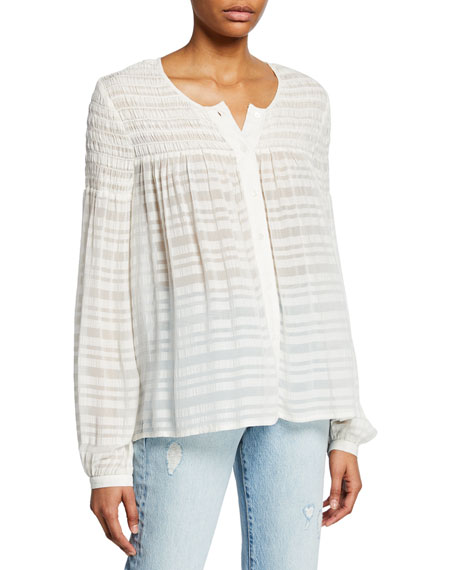 FRAME Smocked Button-Up Long-Sleeve Top