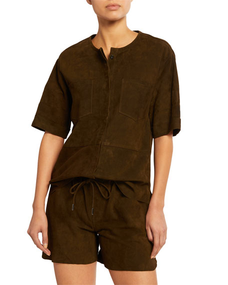 Frame Tops WALKING SUEDE PATCH-POCKET TUNIC